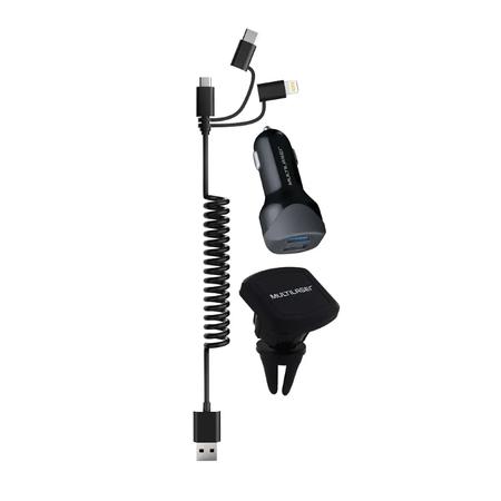 Carregador Veicular 2 USB 3 em 1 Preto Multilaser Multilaser
