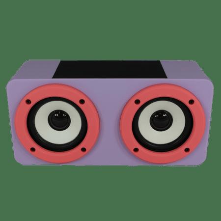 Caixa de Som com Dois Alto-falantes Rosa e Roxo