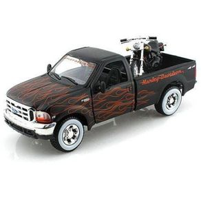 Ford-F-350-1999-Super-Duty---Moto-Harley-FLSTB-Night-Train-Escala-1-24-Maisto-1